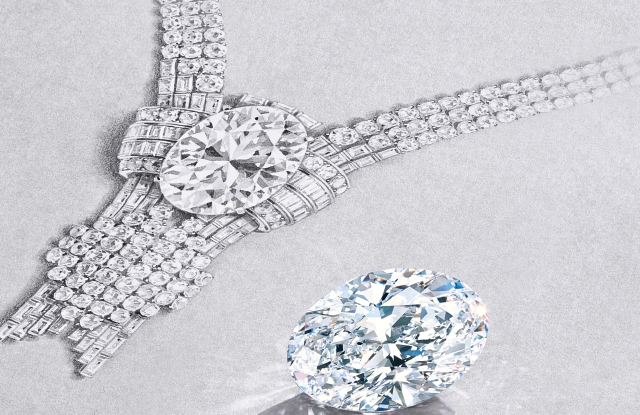 A sketch of Tiffany's forthcoming necklace with the 80 carat flawless diamond that it will include.