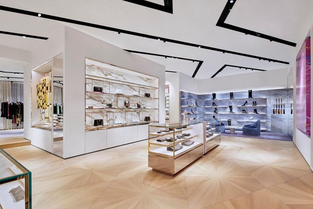 Inside Versace's new store in Zurich.