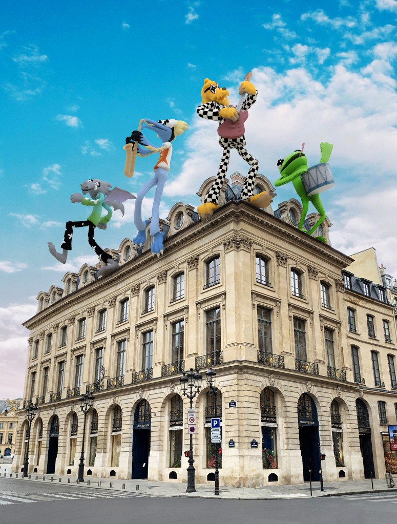 """A rendering of Louis Vuitton's """"Zoooom with friends"""" characters on the facade of the Place Vendôme flagship."""