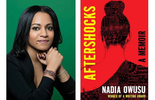 "Author Nadia Owusu and ""Aftershocks"" book cover."