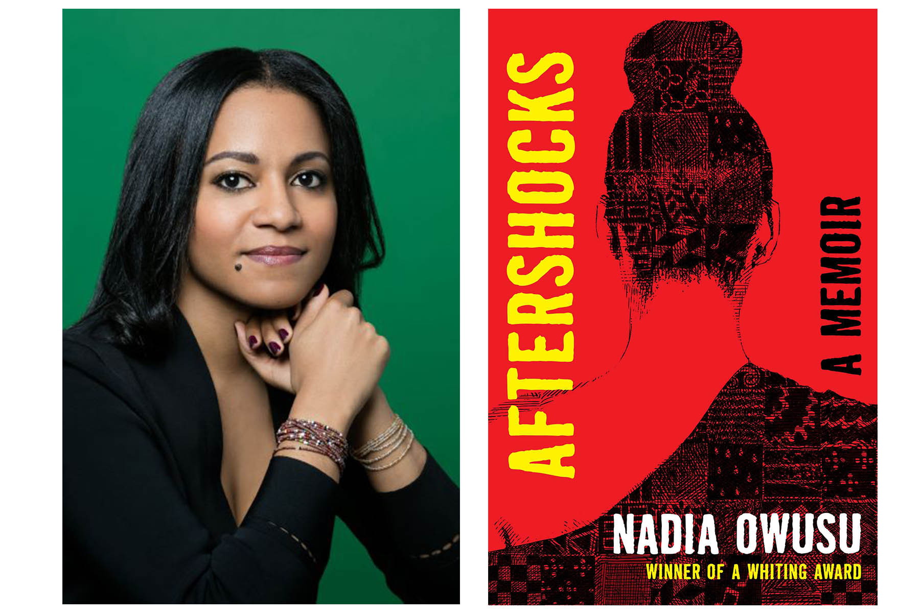 """Author Nadia Owusu and """"Aftershocks"""" book cover."""
