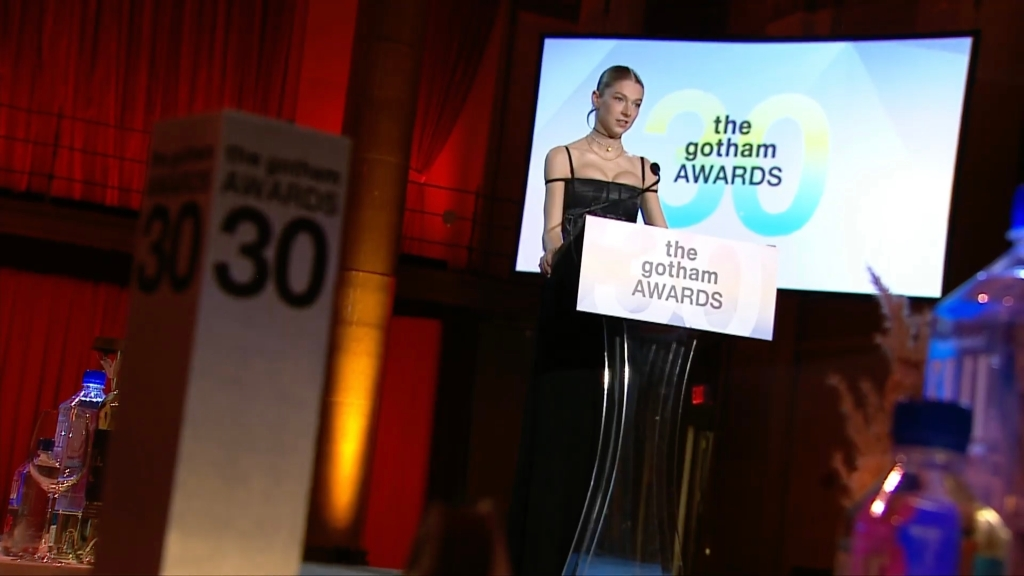 Hunter Schafer presenting at the 2020 Gotham Awards.