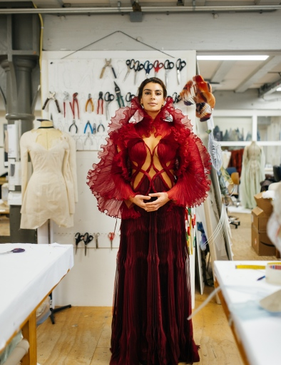 WWD's Kuba Dabrowski visits Iris Van Herpen's Amsterdam atelier during the fitting for Dutch-Iranian musician Sevdaliza.
