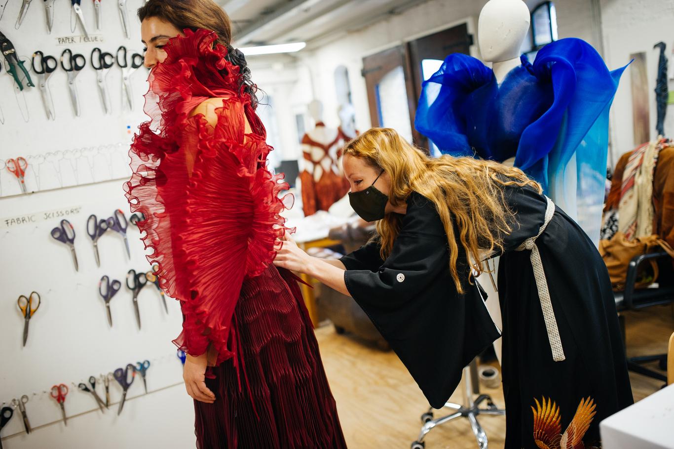 WWD's Kuba Dabrowski visits Iris Van Herpen's Amsterdam atelier during the fitting for Dutch-Iranian musician Sevdaliza.