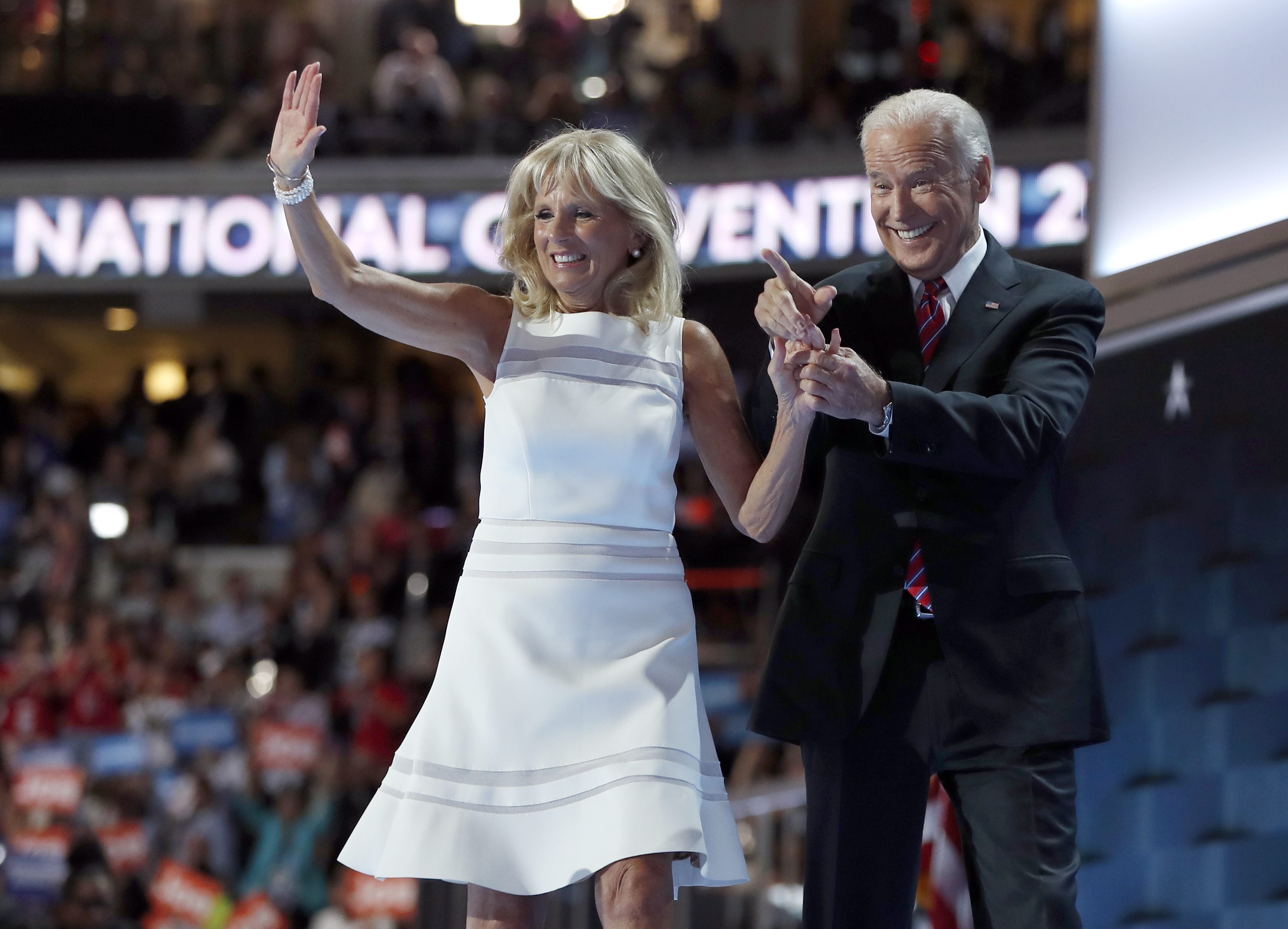 Dr. Jill Biden and Vice President Joe Biden wave after speaking to delegates during the third day session of the Democratic National Convention in Philadelphia, Wednesday, July 27, 2016. (AP Photo/Carolyn Kaster)