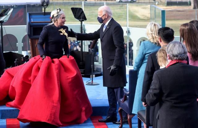 Lady Gaga Wears Custom Schiaparelli for Joe Biden Inauguration