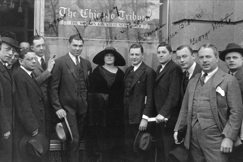 Champion middleweight boxer Jack Dempsey (center left) and Herman Mankiewicz (center right) in Berlin in 1921.