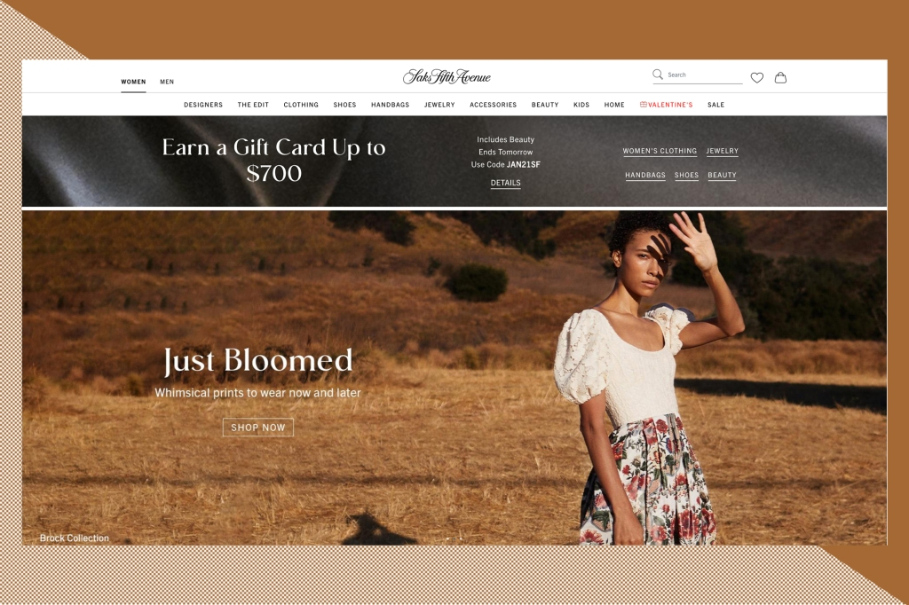 The Saks.com homepage.
