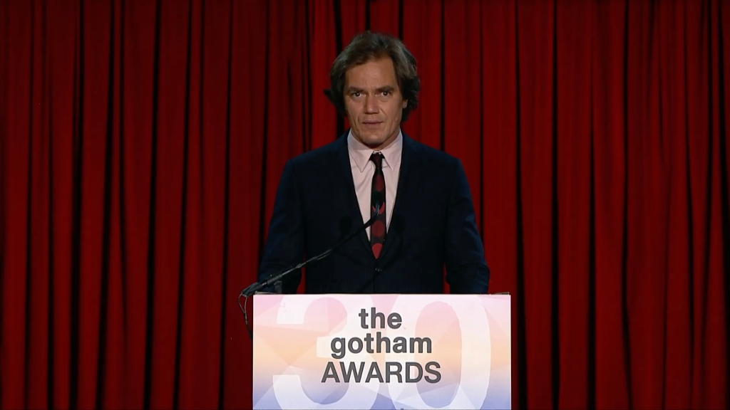 Michael Shannon presenting the Gotham award for best feature.