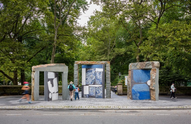 "Sam Moyer, ""Doors for Doris,"" 2020 Bluestone, poured concrete, assorted marble, and steel Presented by Public Art Fund at Doris C. Freedman Plaza, September 16, 2020—September 12, 2021 Courtesy Sam Moyer Studio and Sean Kelly, New York Photo: Nicholas Knight, Courtesy Public Art Fund, NY"