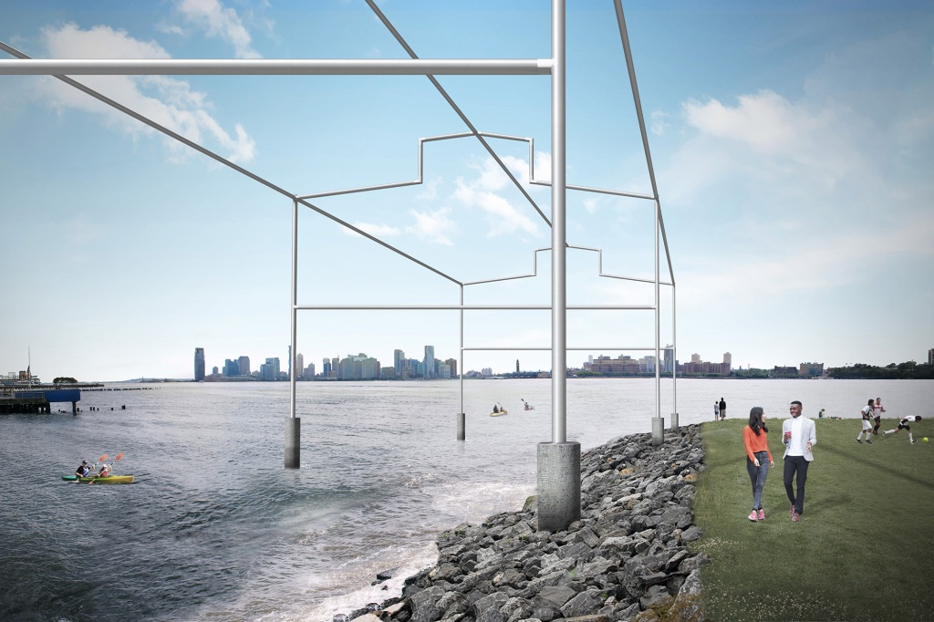 Rendering of the proposed project, Day's End by David Hammons, looking west from Gansevoort Peninsula. Courtesy Guy Nordenson and Associates.
