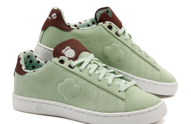 The Thin Mints-inspired Girl Scouts x K-Swiss Court 66 sneaker.