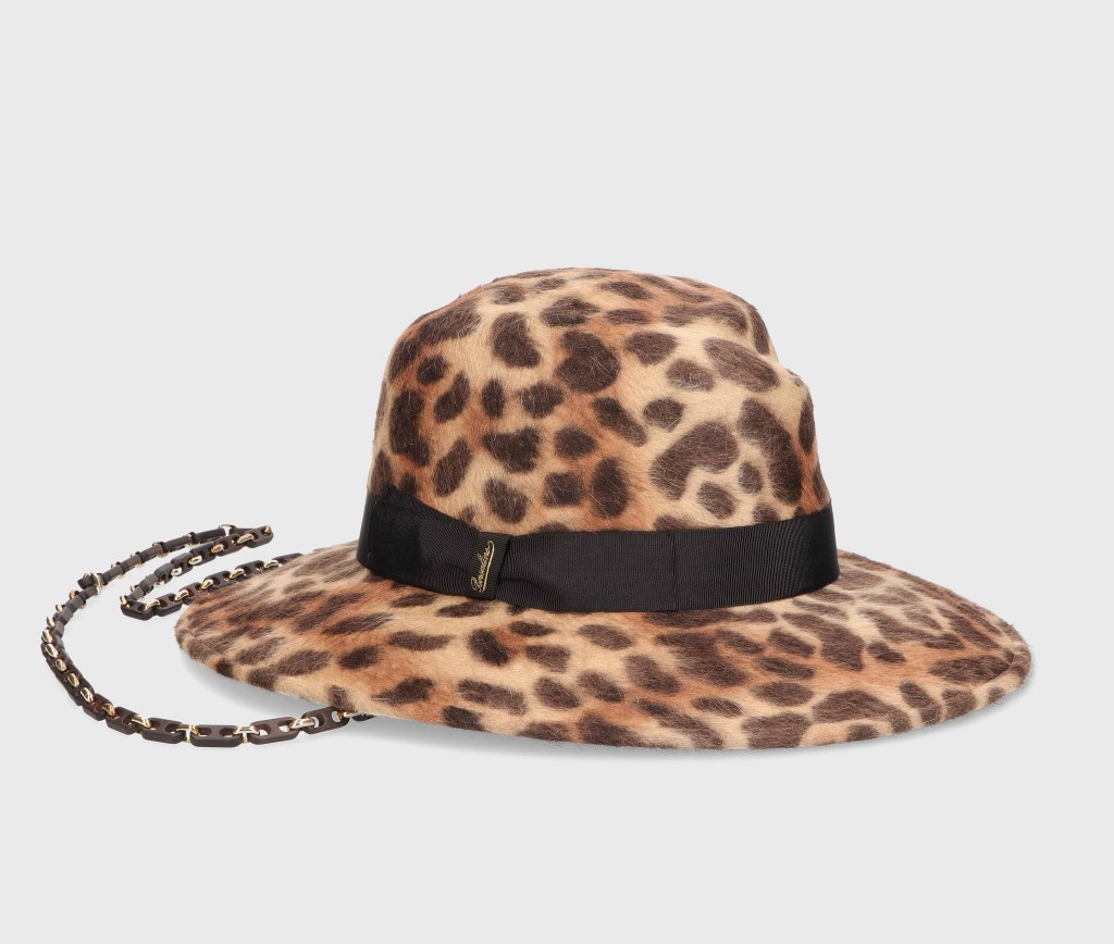 A leopard printed hat from the Borsalino fall 2021 collection.