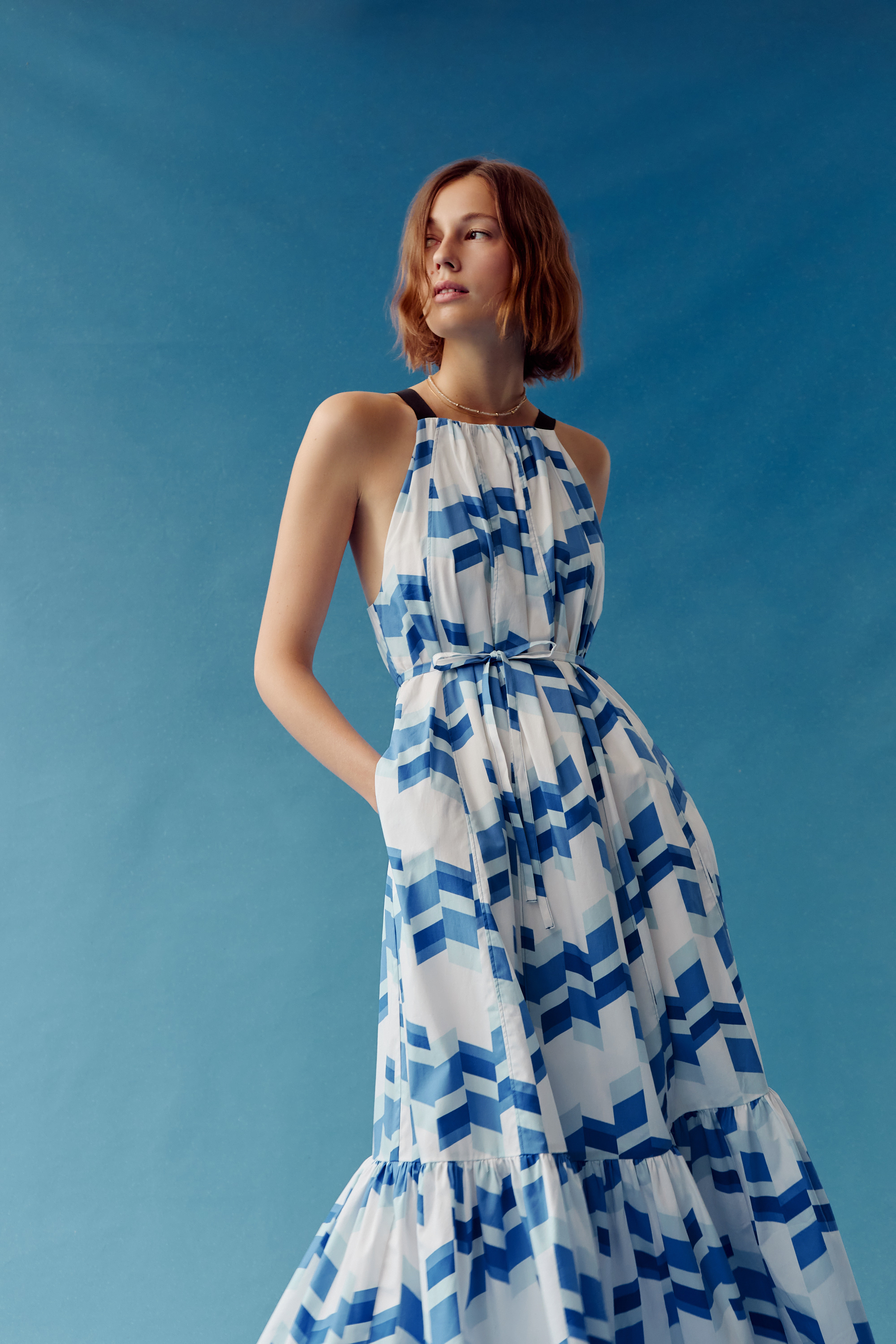 This geometric-printed dress is one of the designer's favorites in the new collection.