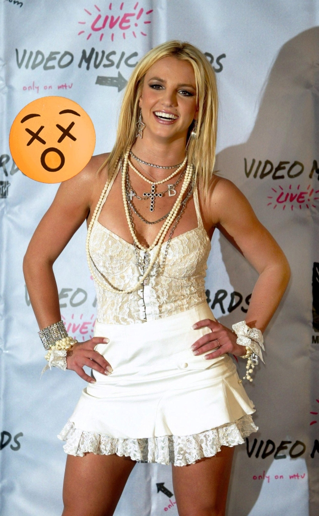 Britney Spears poses during the MTV Video Music Awards, 2003.