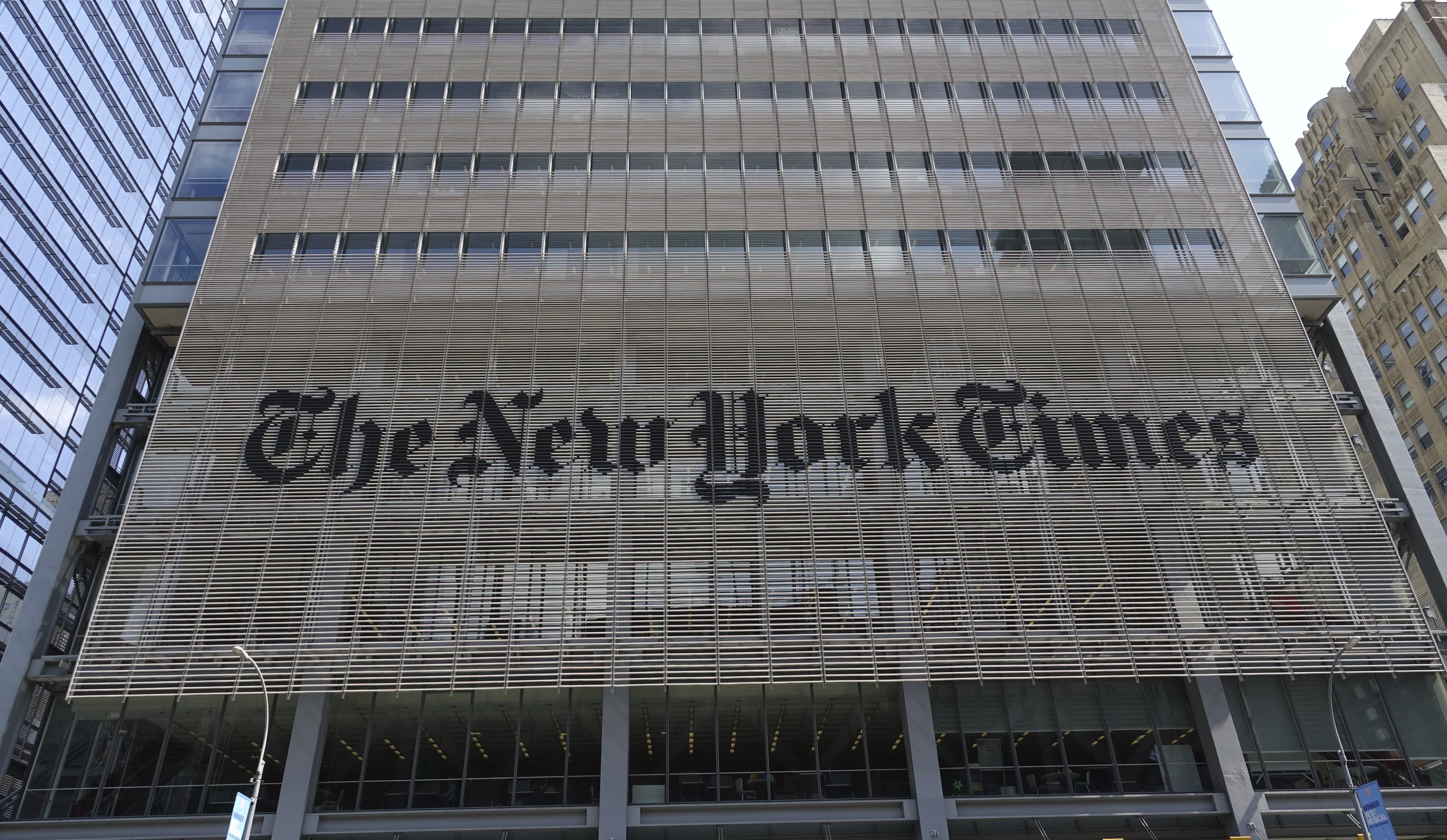 10 September 2019, US, New York: Building of the New York Times newspaper publishing house. Photo by: Alexandra Schuler/picture-alliance/dpa/AP Images