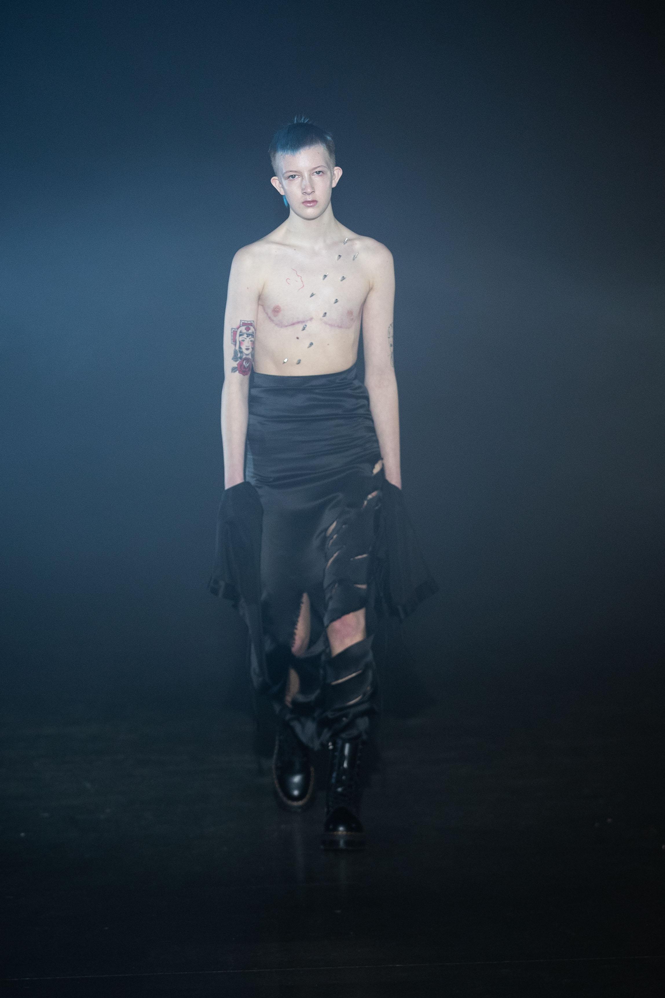Trans model Finn Buchanan walks for London fashion label Art School.