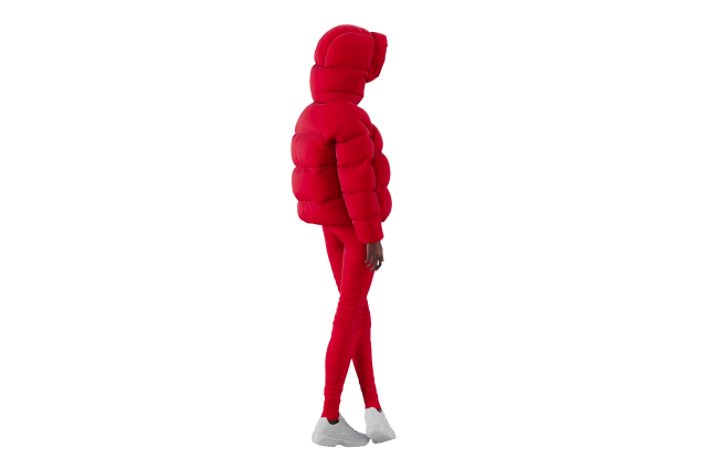 A digital avatar sporting a look from the Bacon's fall 2021 outerwear collection.
