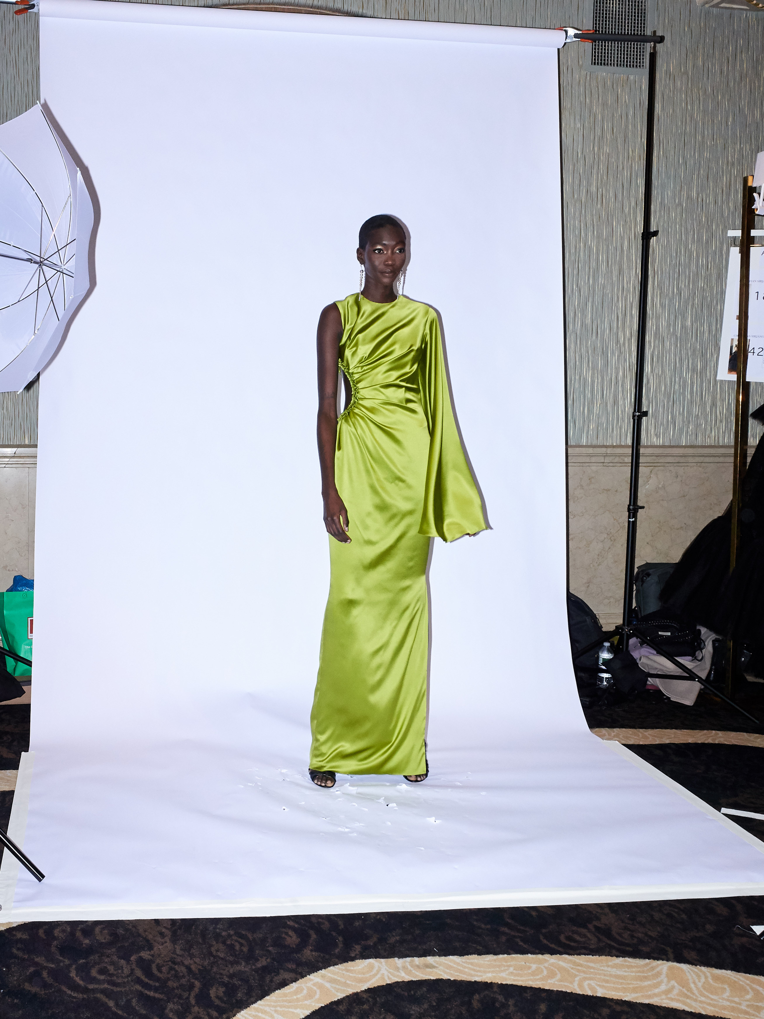 Backstage at Christian Siriano RTW Fall 2021.