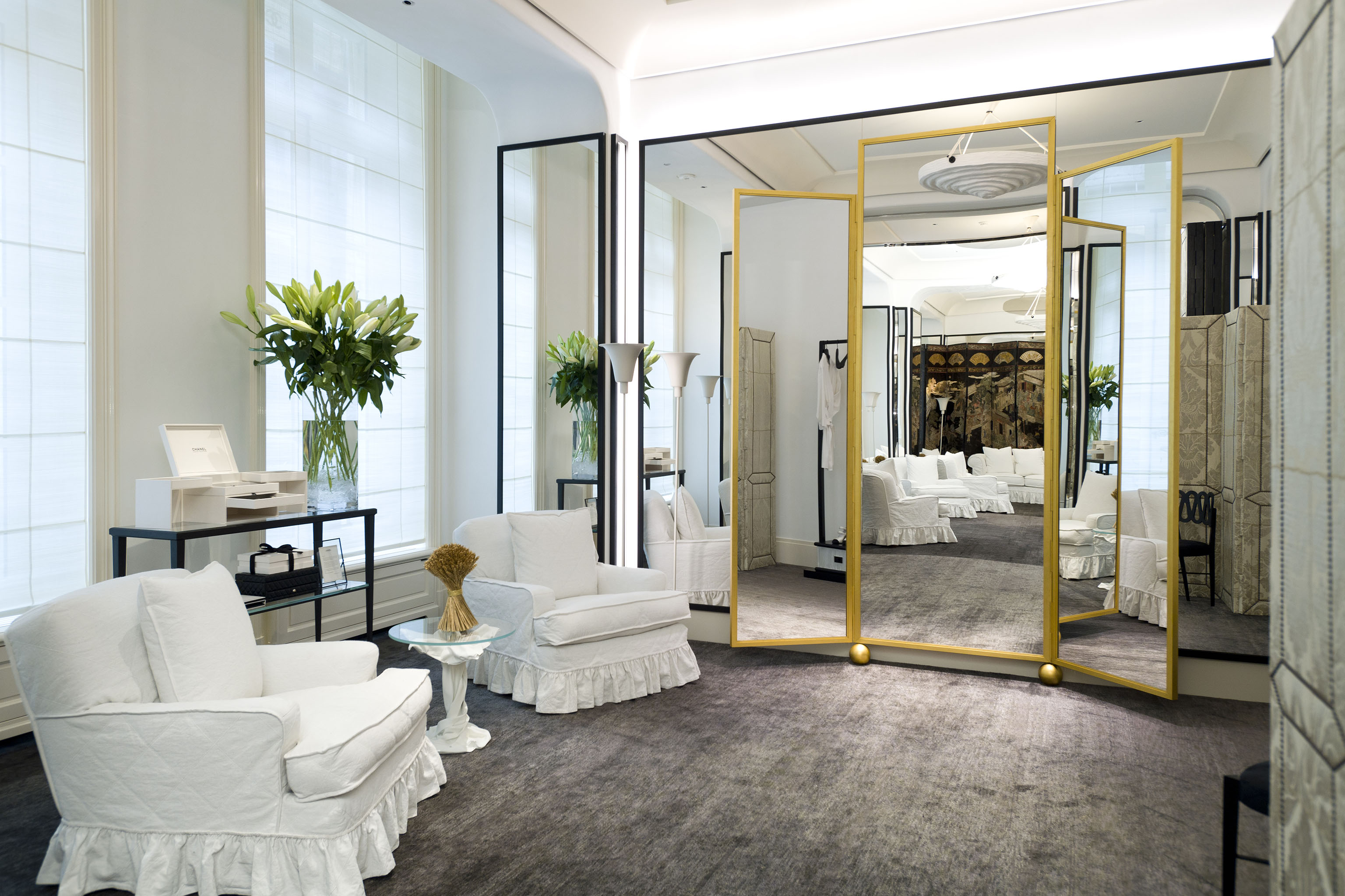 A private fitting room at Chanel's renovated haute couture salon in Paris.