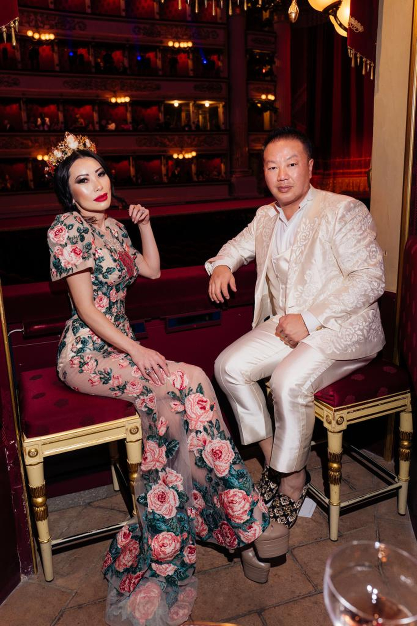 Christine Chiu and Dr. Gabriel Chiu both in Dolce & Gabbana couture