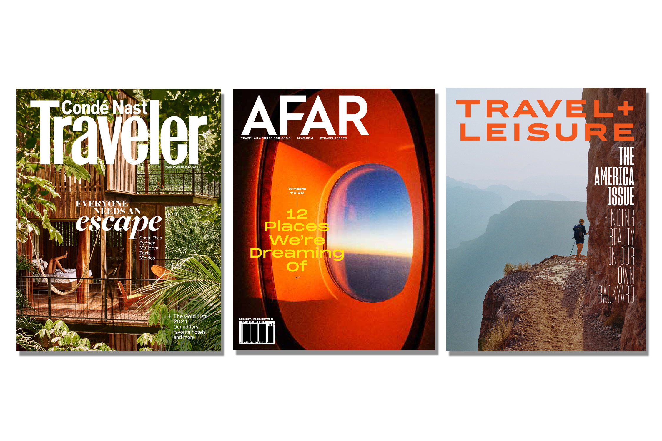 Travel magazines' covers.