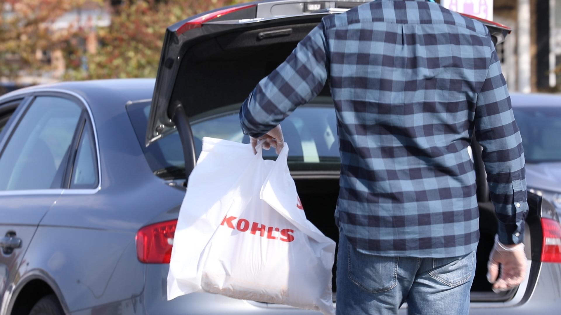 shopper taking kohl's shopping bag to car