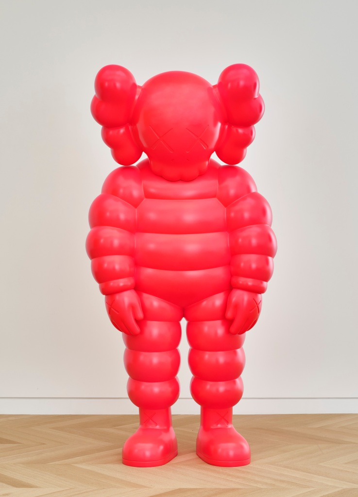 KAWS (American, born 1974). WHAT PARTY, 2020. Bronze, paint, 90 × 43 5/16 × 35 3/8 in. (228.6 × 110 × 89.9 cm). © KAWS.