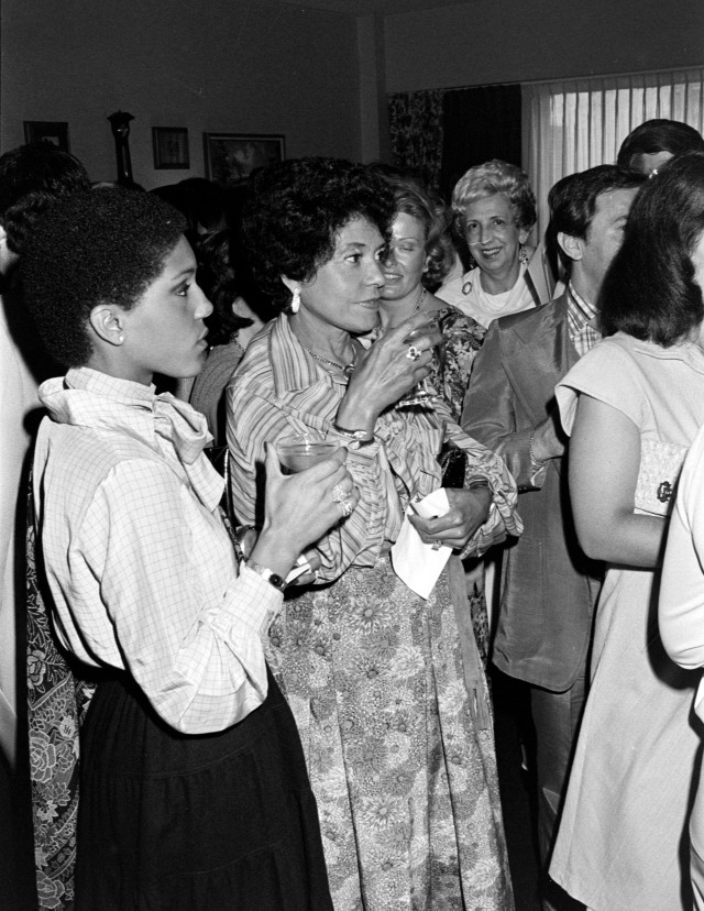 Linda Johnson and Eunice Johnson of Ebony/Jet magazines and Fashion Fair attend a party for the debut of Emlin cosmetics line in Chicago on August 2, 1977.