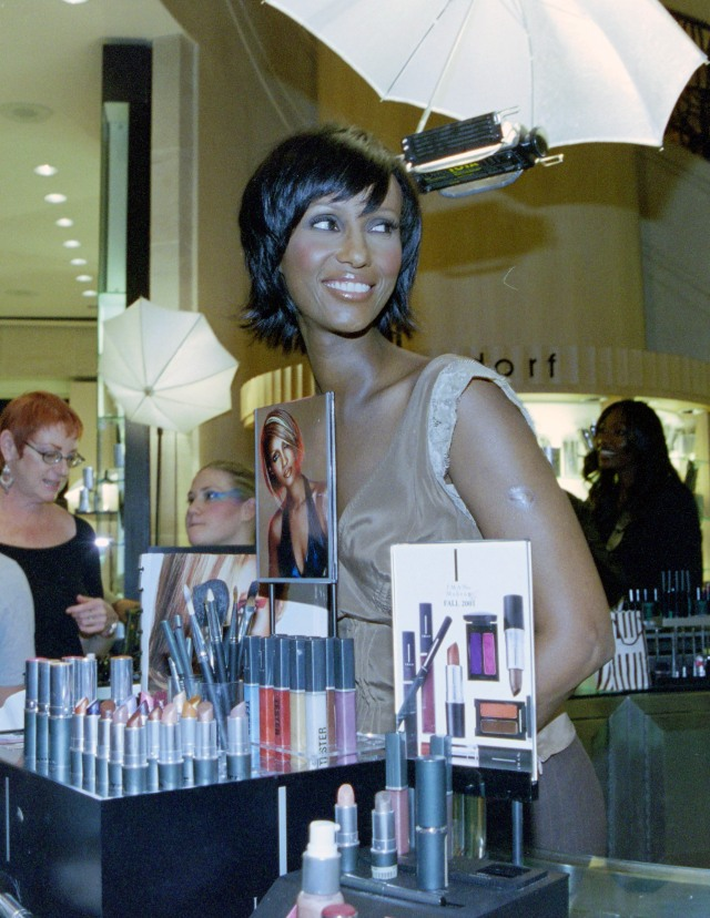 Iman makes a personal appearance at her Henri Bendel's cosmetic counter event on November 1, 2001.