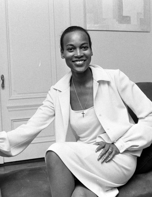Businesswoman, author and model Naomi Sims talks to WWD about the state of black beauty on September 8, 1975 in New York City.