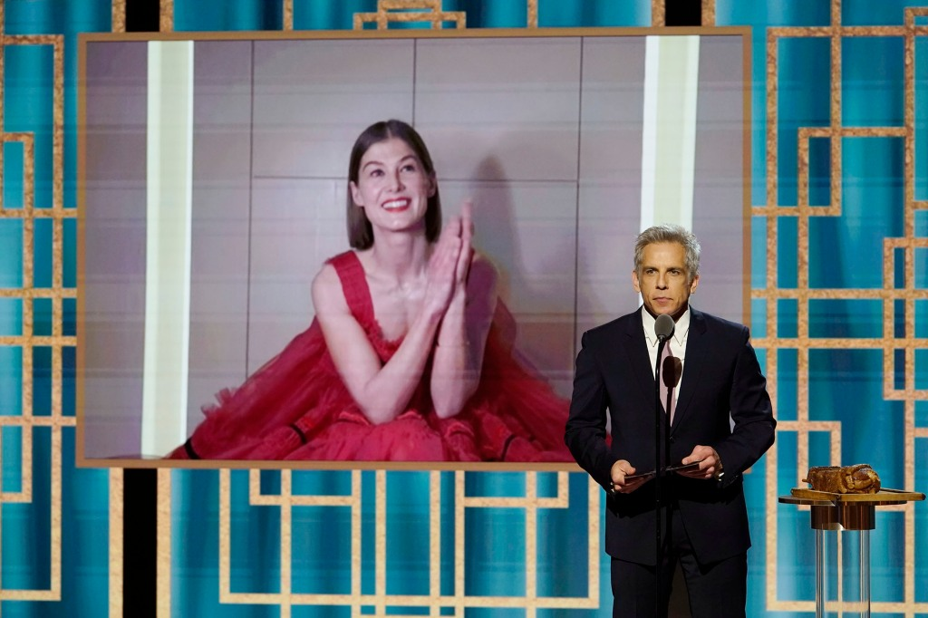 Rosamund Pike accepts the Best Actress - Motion Picture – Musical/Comedy award for 'I Care a Lot' via video;