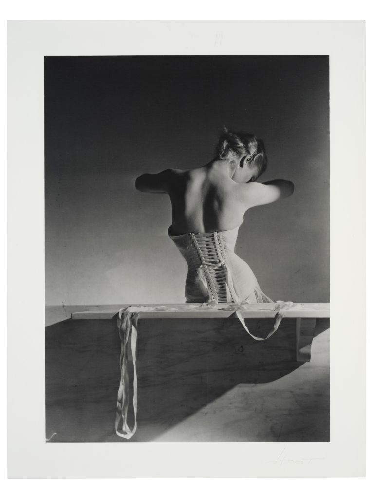 Horst P. Horst's photo of Madame Bernon wearing a Mainbocher corset, 1991