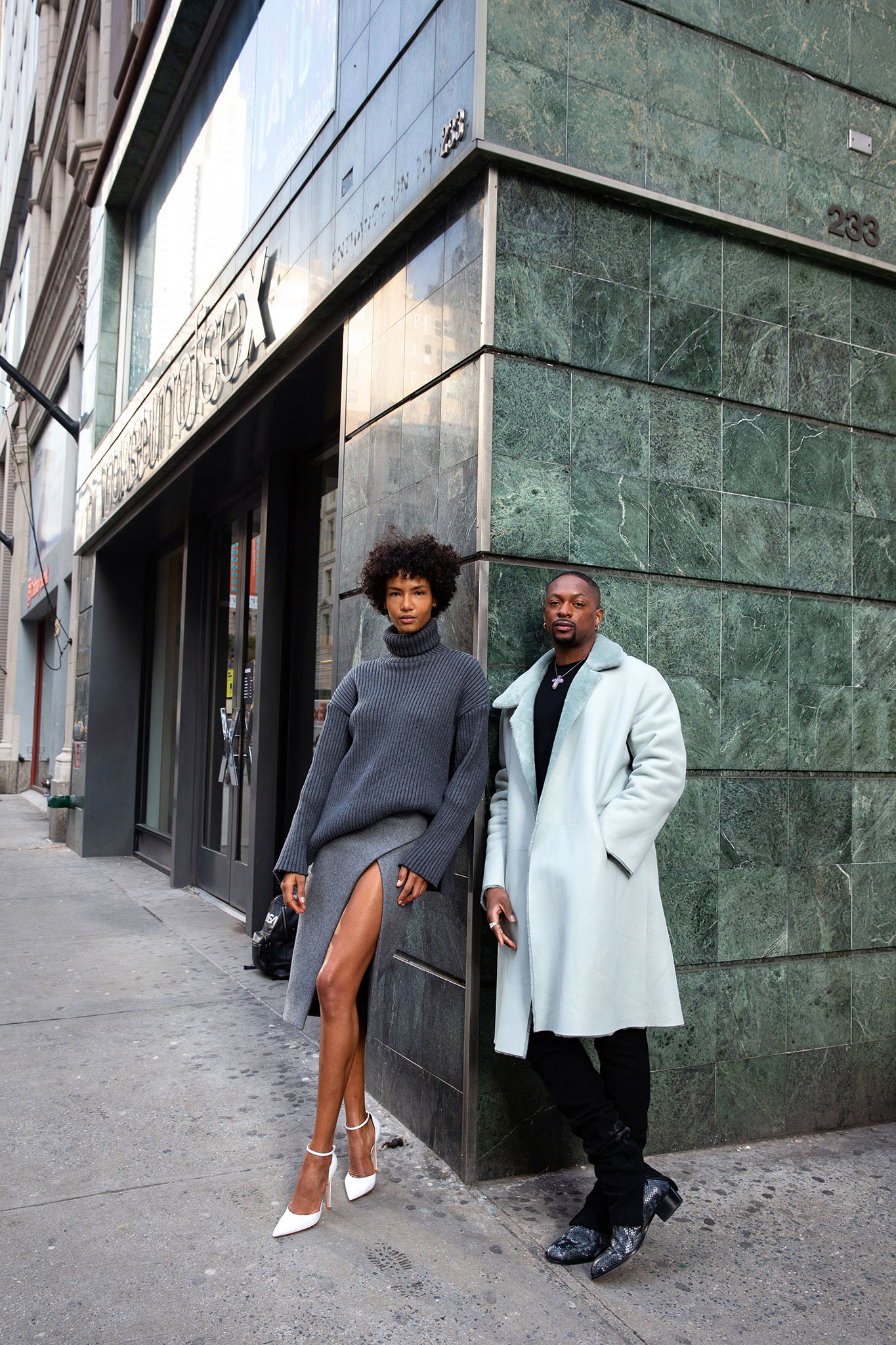 LaQuan Smith and a model in a look from his Fall 2021 collection.