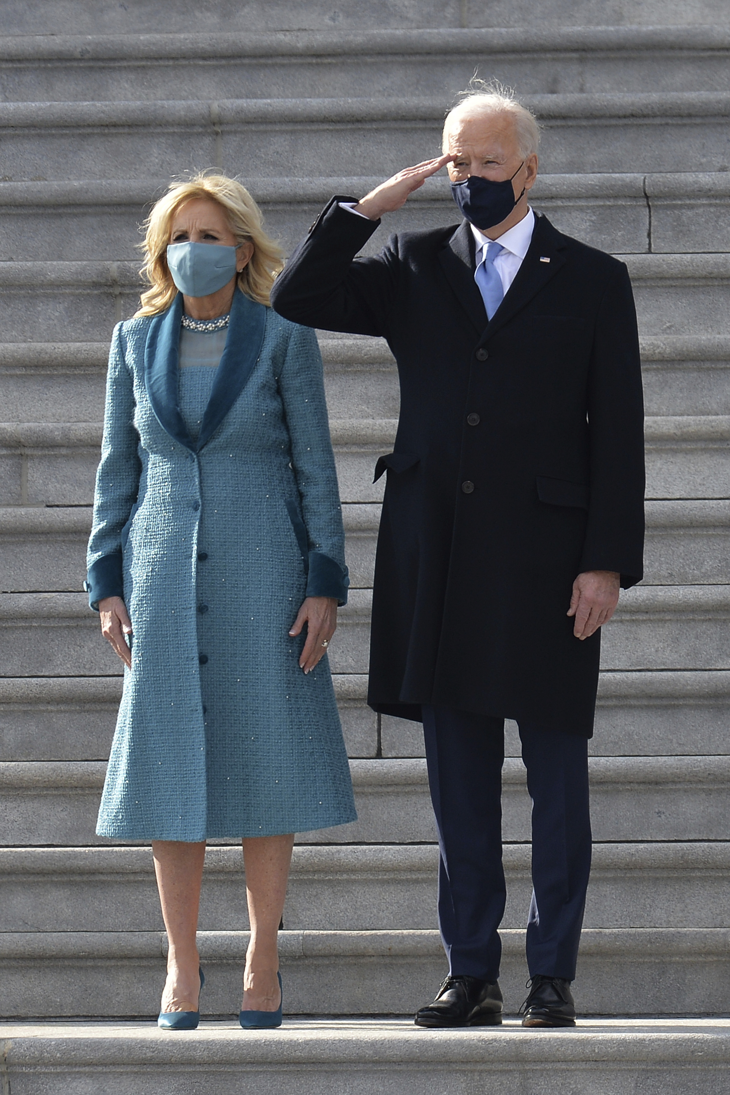 First Lady Jill Biden and President Joe Biden President Joe Biden exit the Inauguration Day ceremony of President-Elect Joe Biden and Vice President-Elect Kamala Harris held at the U.S. Capitol Building in Washington, D.C.