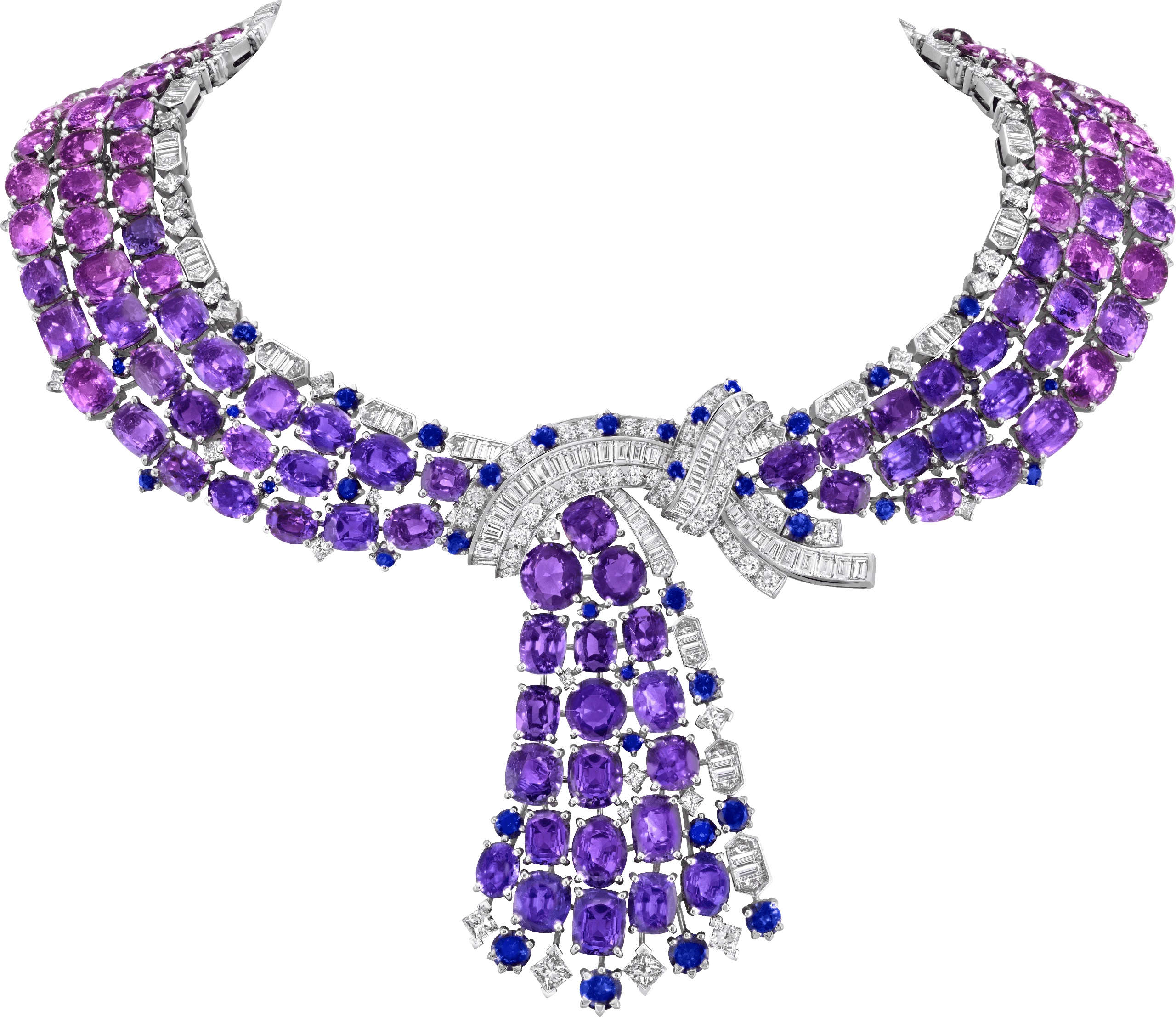 Antennae reversible necklace. White gold, 154 cushion-cut and oval-cut pink and mauve sapphires for 417.33 carats (Madagascar), sapphires, rubies, diamonds.