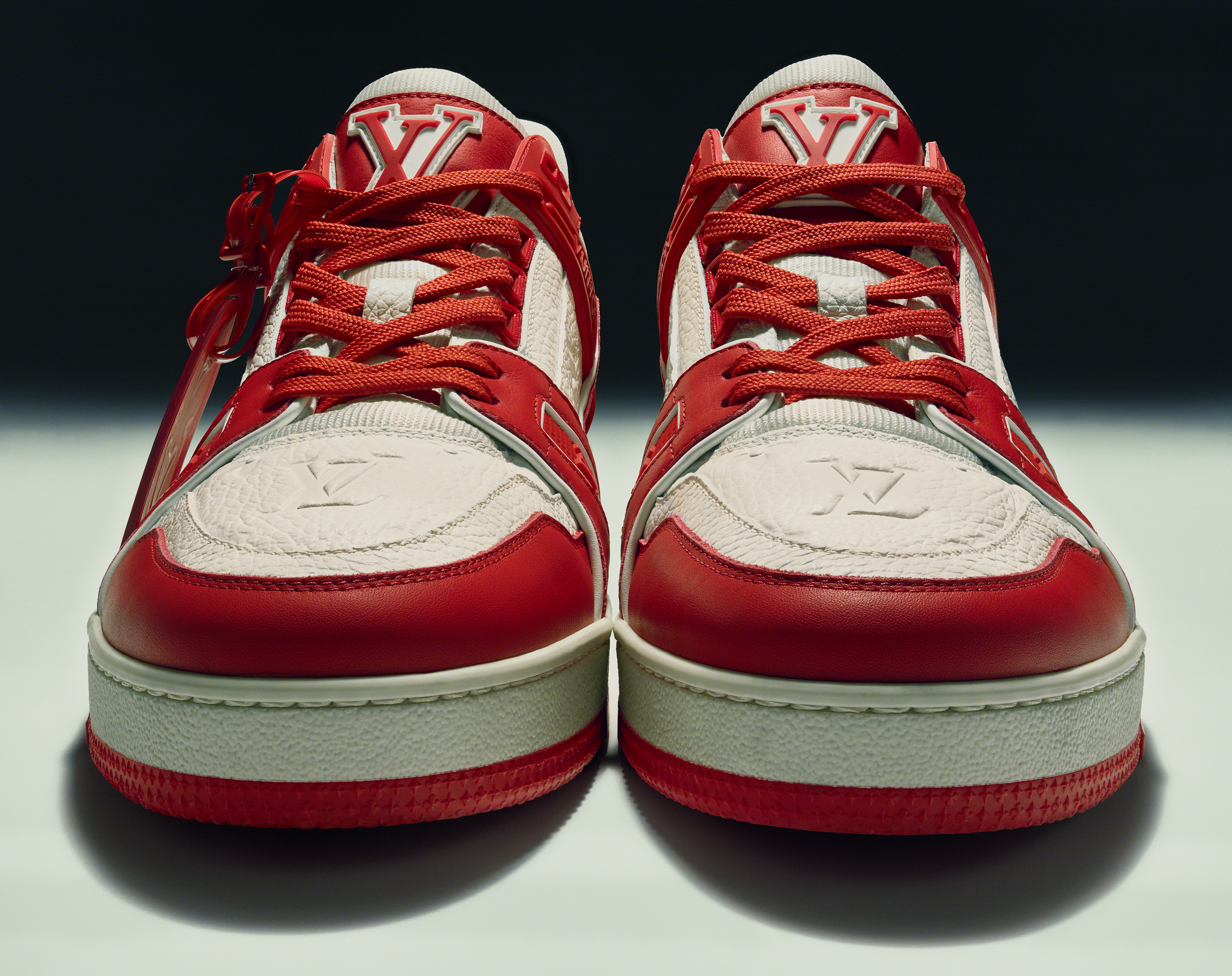 The prototype of the Louis Vuitton I (Red) Trainer to be auctioned at Sotheby's.