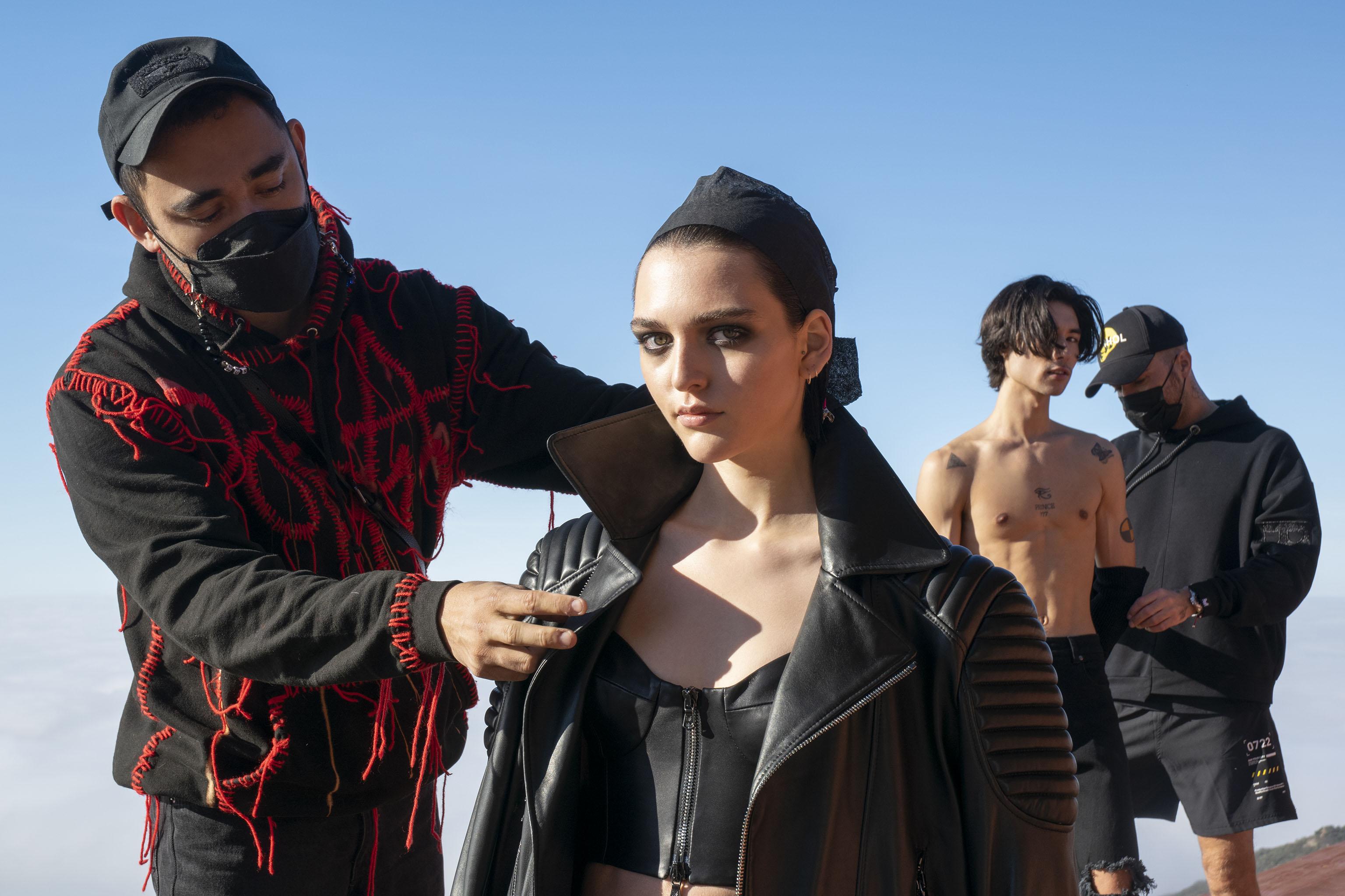 L.A.-based designer Marcell Pustul and stylist Nicola Formichetti prep the fall 2021 Marcell Von Berlin collection film in Malibu, Calif. on Feb. 8, 2020.