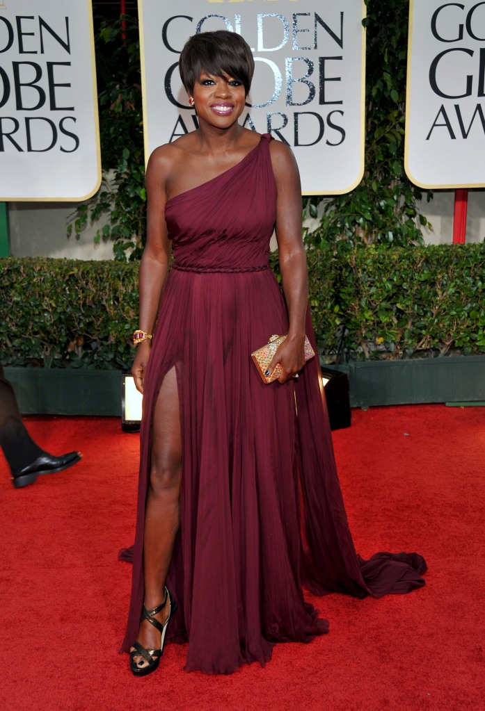 69th ANNUAL GOLDEN GLOBE AWARDS -- Pictured: Viola Davis arrives at the 69th Annual Golden Globe Awards held at the Beverly Hilton Hotel on January 15, 2012 -- Photo by: Vince Bucci/NBC/NBCU Photo Bank