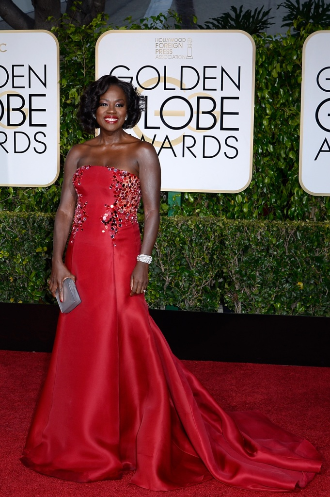 BEVERLY HILLS, CA - JANUARY 11: 72nd ANNUAL GOLDEN GLOBE AWARDS -- Pictured: Actress Viola Davis arrives to the 72nd Annual Golden Globe Awards held at the Beverly Hilton Hotel on January 11, 2015. (Photo by: Kevork Djansezian/NBC/NBCU Photo Bank) *** Local Caption *** Viola Davis