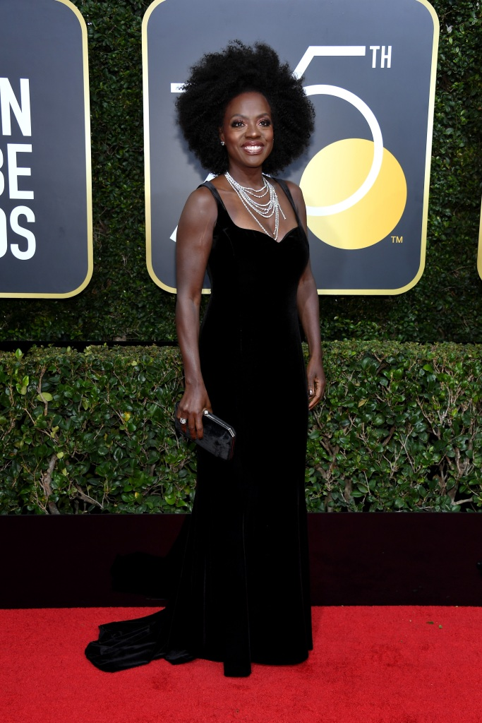 BEVERLY HILLS, CA - JANUARY 07: 75th ANNUAL GOLDEN GLOBE AWARDS -- Pictured: Actor Viola Davis arrives to the 75th Annual Golden Globe Awards held at the Beverly Hilton Hotel on January 7, 2018. (Photo by Kevork Djansezian/NBC/NBCU Photo Bank via Getty Images) *** Local Caption *** Viola Davis