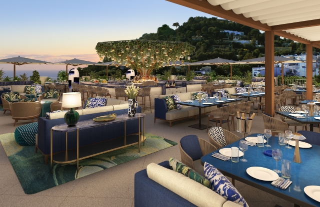 A rendering of the rooftop restaurant and bar at the Hotel La Palma, set to open in Capri in April 2022.