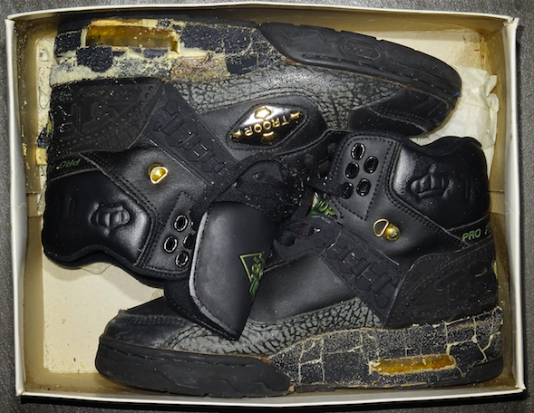A pair of sneakers displayed in the Slam Jam archive.
