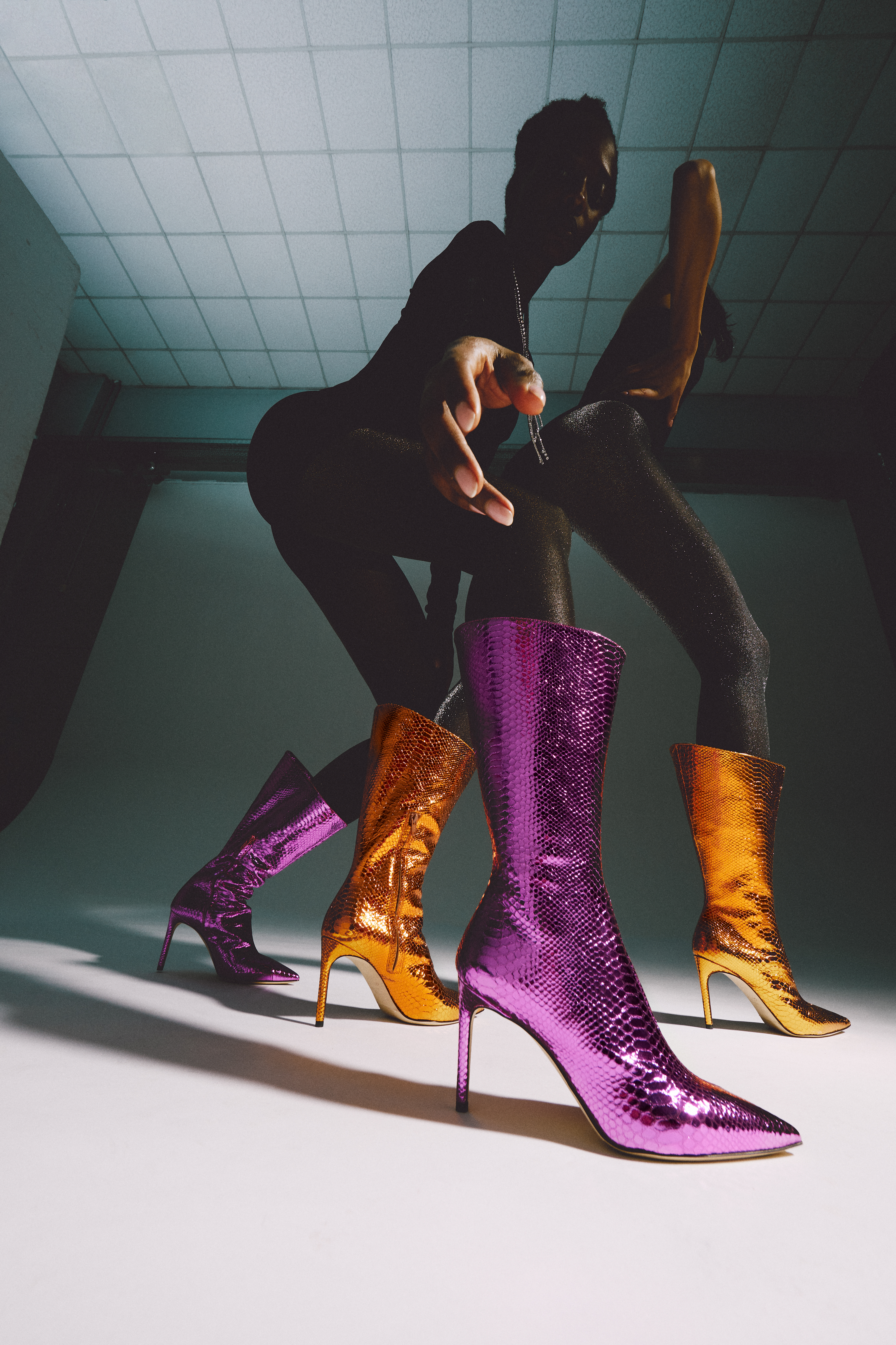 Shimmering booties from the Giannico fall 2021 collection.