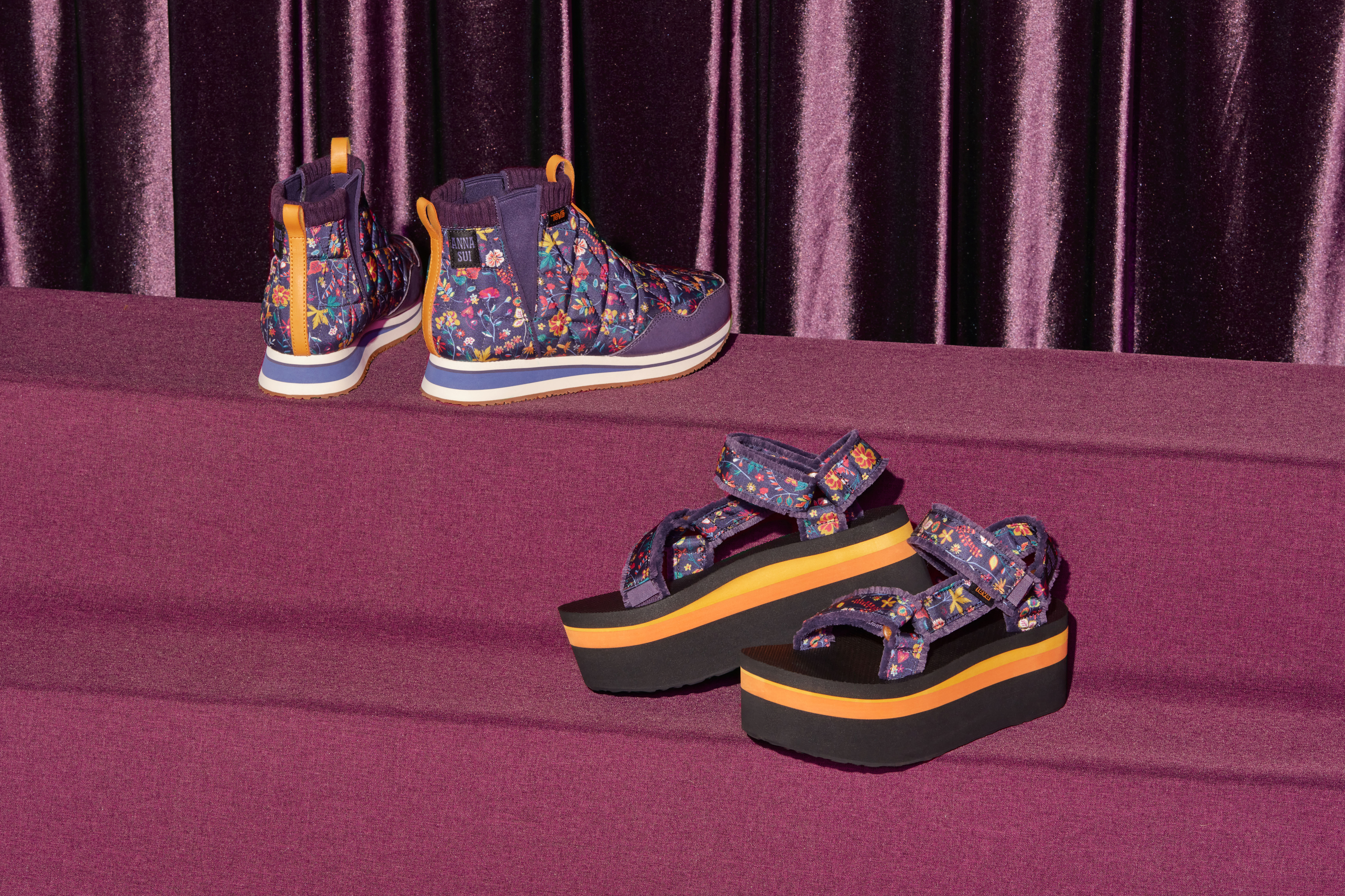 The Ember Mid Anna and the Flatform Universal Anna for the Anna Sui x Teva collection.