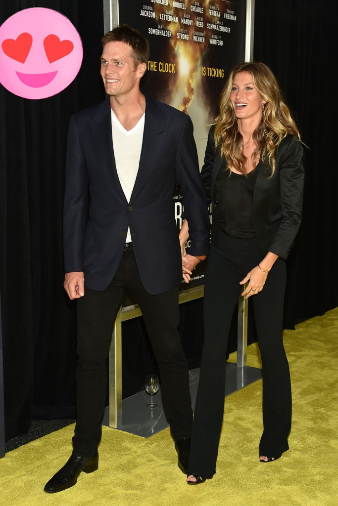 """Gisele Bundchen and Tom Brady, attend the premiere of National Geographic Channel's, """"Years of Living Dangerously,"""" at the American Museum of Natural History, 2016."""