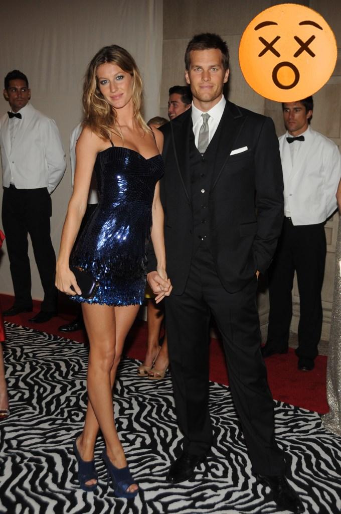 Gisele Bundchen and Tom Brady attend The Met Gala, 2009.