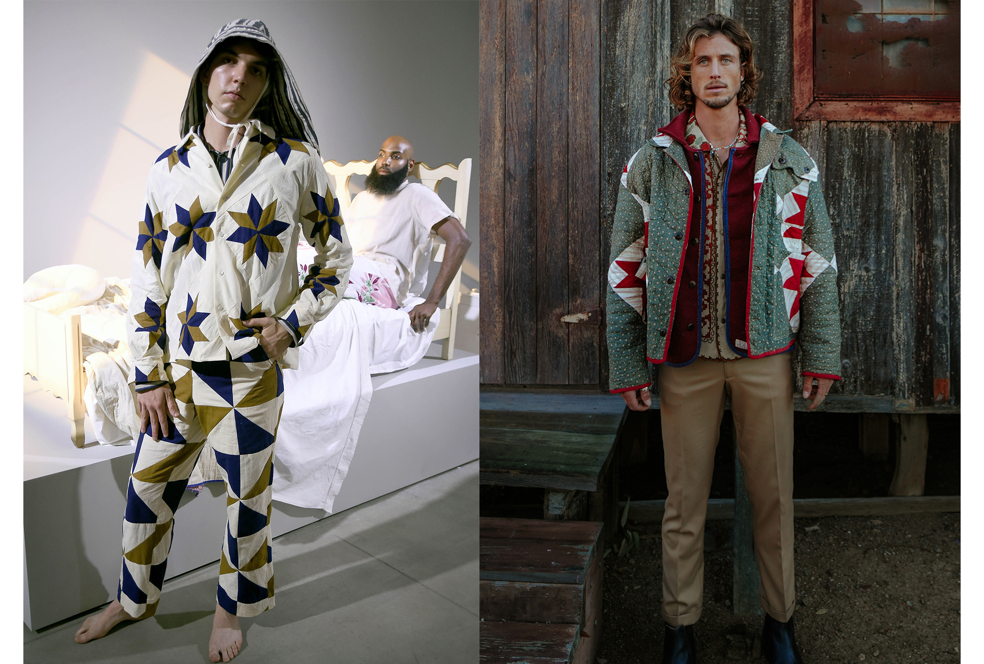 Looks from Bode men's, spring 2018 and Stan, spring 2021.