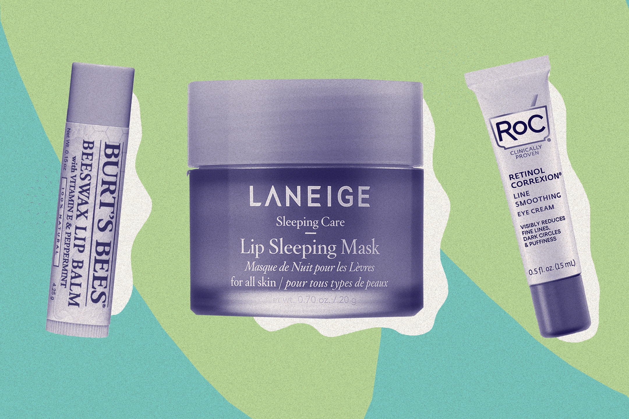 Burt's Bees, Laneige and Roc are among the best eye and lip products.
