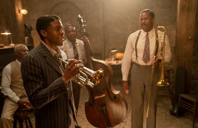 Ma Rainey's Black Bottom (2020): (L to R)Glynn Turman as Toldeo, Chadwick Boseman as Levee, Michael Potts as Slow Drag, and Colman Domingo as Cutler.Cr. David Lee / Netflix